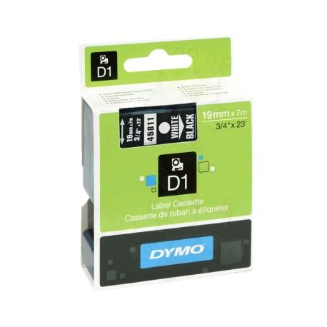 CINTA LAMINADA DYMO 45811 NEGRO/BLANCO 19mm